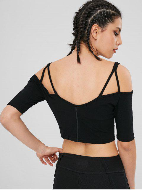 shops Cold Shoulder Padded Crop Workout Tee - BLACK L Mobile