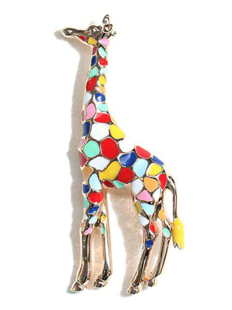 latest Statement Giraffe Printed Metal Brooch - MULTI  Mobile