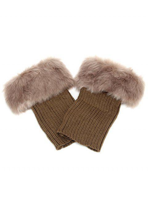 fancy Stylish Stripe Knitted Faux Fur Leg Warmers - DARK KHAKI  Mobile