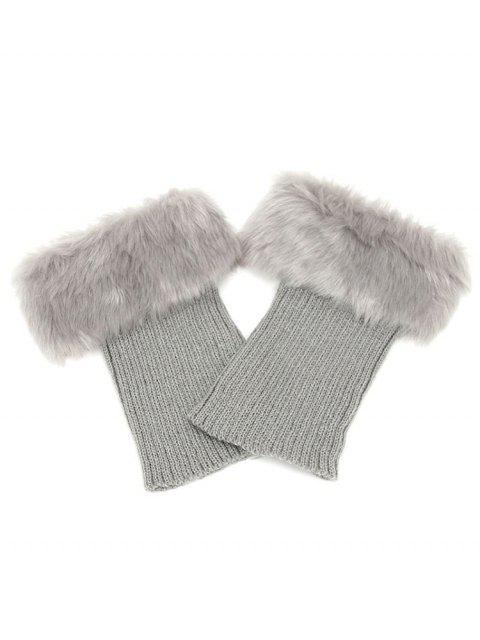 trendy Stylish Stripe Knitted Faux Fur Leg Warmers - BATTLESHIP GRAY  Mobile