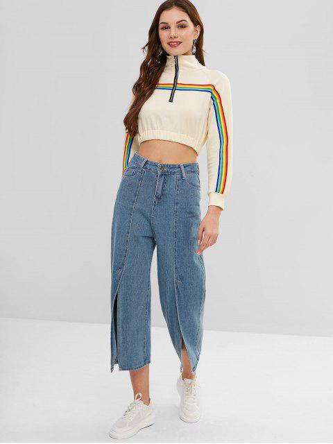 women Rainbow Stripe Patch Cropped Sweatshirt - TAN BROWN L Mobile
