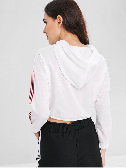 best Ribbon Insert Short Drawstring Hoodie - WHITE XL Mobile