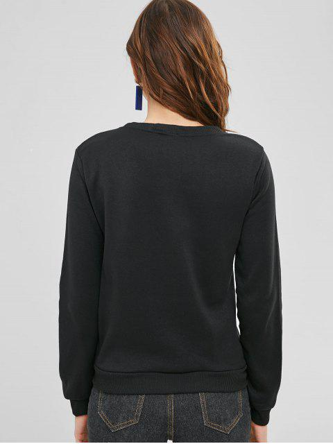 new Kitten Print Fleece Round Neck Sweatshirt - BLACK XL Mobile