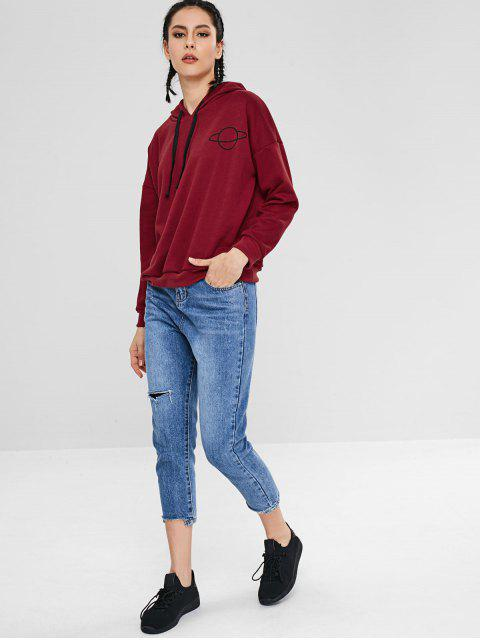 womens ZAFUL Drawstring Loose Planet Hoodie - RED WINE L Mobile