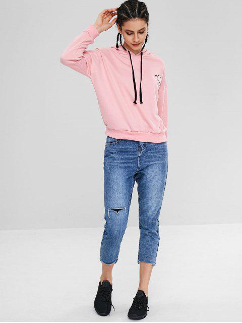 trendy ZAFUL Drawstring Loose Planet Hoodie - LIGHT PINK L Mobile