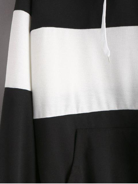 women Two Tone Kangaroo Pocket Hoodie - BLACK L Mobile