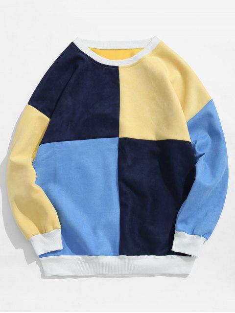 new ZAFUL Color Block Suede Sweatshirt - MULTI-C 2XL Mobile