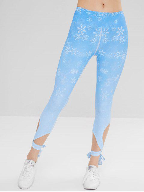 women's Sport Snowflake Cross Tied Yoga Leggings - SKY BLUE M Mobile