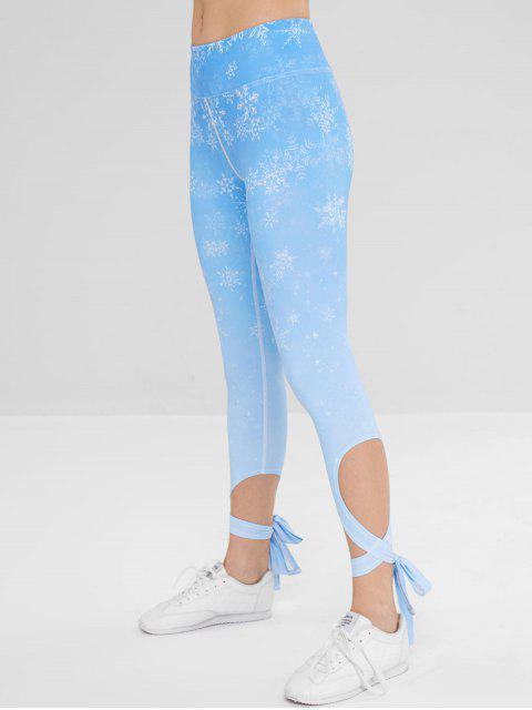Deporte copo de nieve cruz atado leggings yoga - Celeste M Mobile