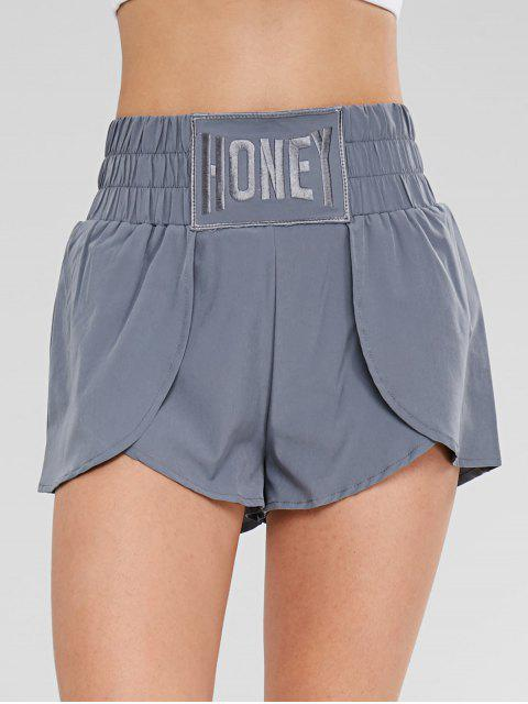 shops Front Split Wide Waistband Active Shorts - GRAY L Mobile