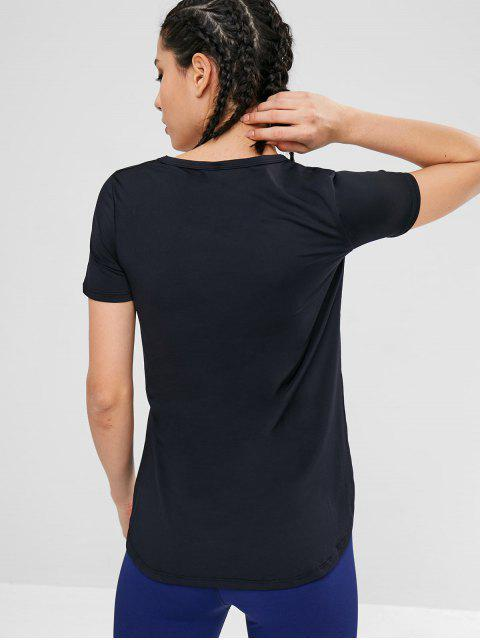 Elastic Side Slit Sport Gym T-Shirt - Schwarz L Mobile
