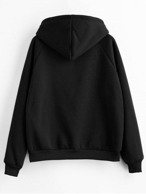 hot Drawstring Raglan Sleeve Front Pocket Hoodie - BLACK M Mobile