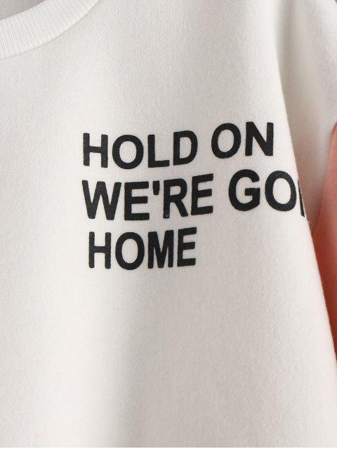 Sweat-shirt Graphique en Blocs de Couleurs à Doublure en Laine - Blanc M Mobile
