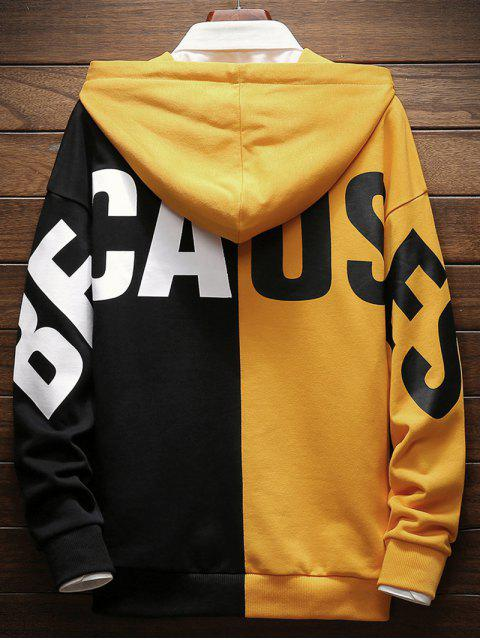 womens Contrast Color Letter Pullover Hoodie - BRIGHT YELLOW 2XL Mobile