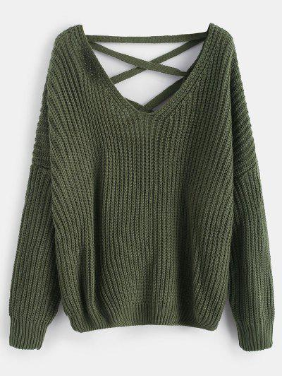 Lace Up Drop Shoulder Chunky Sweater - Army Green