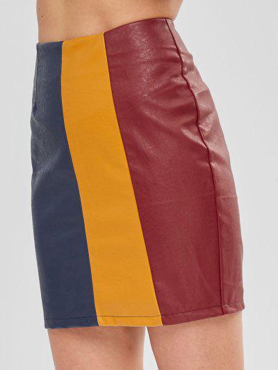 d4b39ca24 ... ZAFUL Faux Leather Colorblock Mini Skirt - Multi M