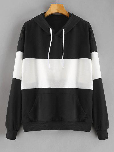 Two Tone Kangaroo Pocket Hoodie - Black M