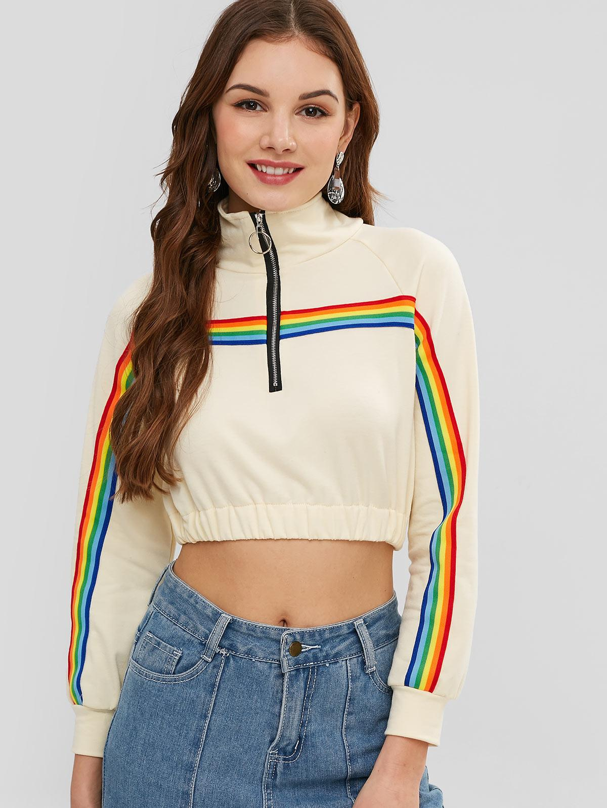 Rainbow Stripe Patch Cropped Sweatshirt