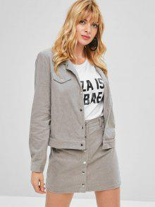 73f3509270 49% OFF] 2019 ZAFUL Corduroy Jacket And Button Fly Skirt Set In GRAY ...