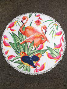 Flamingo Birds Plant مهدب شاطئ منشفة - متعددة-a