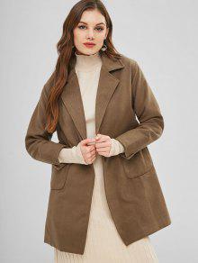 Patch Pockets Faux Wool Winter Coat