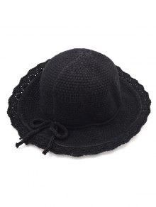 2019 Bowknot Solid Color Knit Bucket Hat In BLACK  cdd695bed074