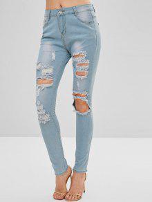 جينز بضربات باهتة ممزقة - ازرق ازرق M M