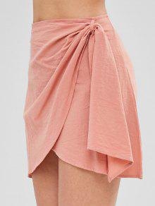 bb944f598 30% OFF] [HOT] 2019 Zip Fly Short Wrap Skirt In ORANGE PINK   ZAFUL