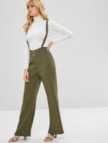 1dfc23665061d9 28% OFF] 2019 Zip Front Wide Leg Suspender Pants In ARMY GREEN | ZAFUL