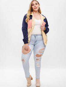 2ea027b9686 33% OFF  2019 Corduroy Color Block Plus Size Jacket In MULTI-A