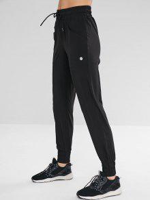 بنطلون رياضي بأربطة رياضية مع جيب - أسود L