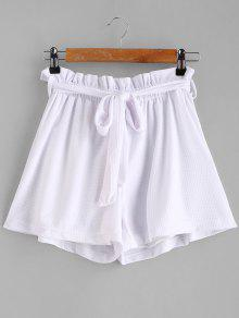 Tie Belt High Waisted Shorts - أبيض Xl