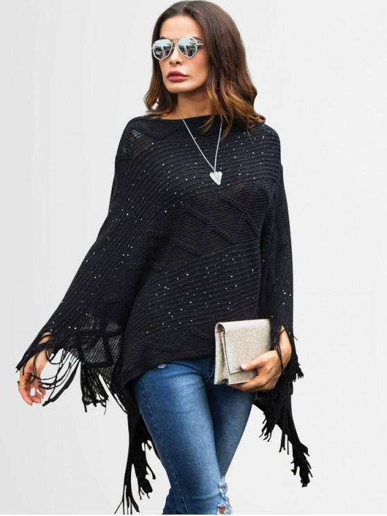 fancy Sequins Fringed Poncho Sweater - BLACK XL