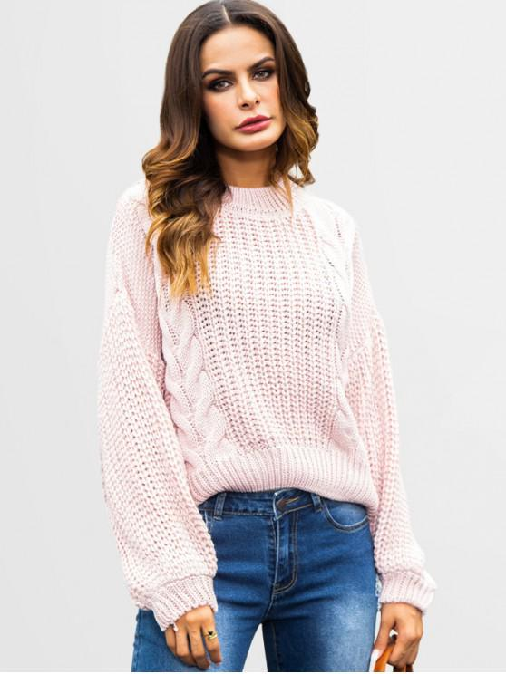 outfits Cutout Cable Knit Chunky Sweater - PINK M