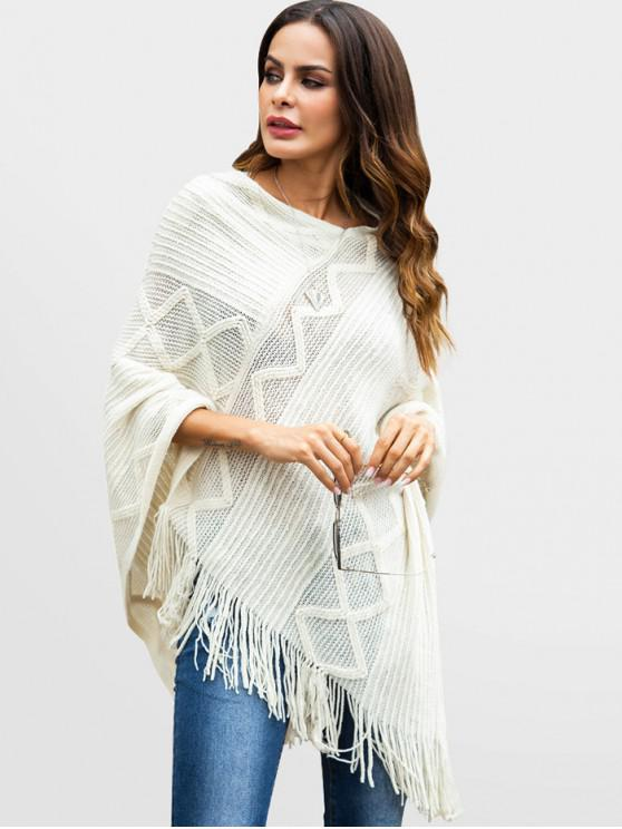 sale Sequins Fringed Poncho Sweater - WHITE XL