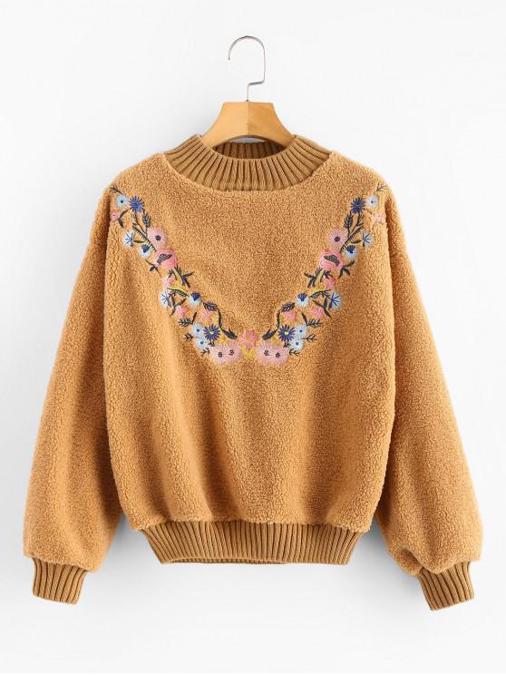 shop Floral Embroidered Fluffy Teddy Sweatshirt - CARAMEL ONE SIZE