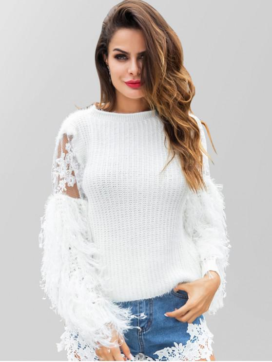 sale Embroidered Fringed Sweater - WHITE L