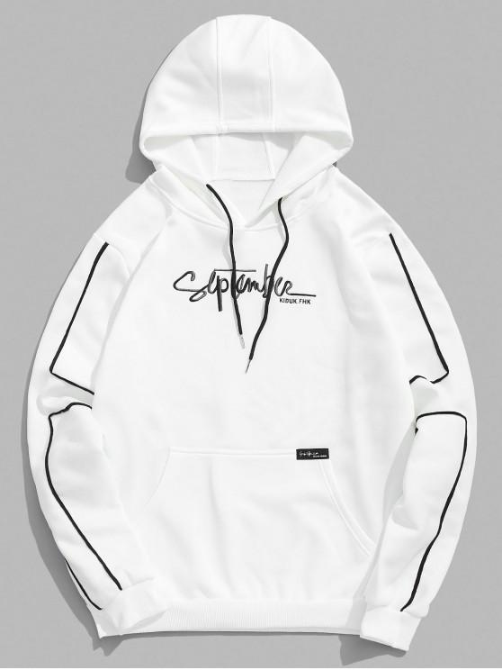 ladies Embroidery Letter Pocket Fleece Contrast Hoodie - WHITE L