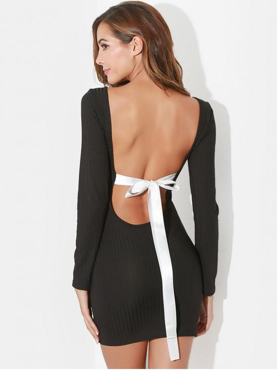 unique Backless Knotted Bodycon Dress - BLACK S
