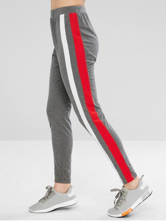 shops ZAFUL Contrast Side Striped Leggings - GRAY L
