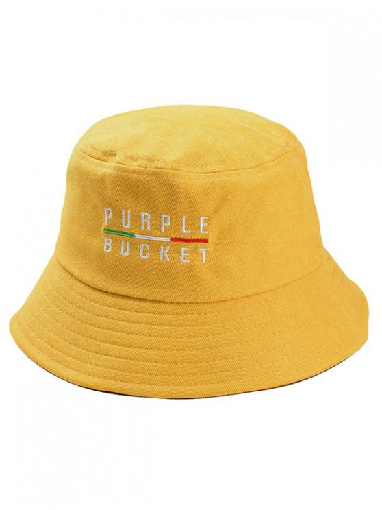 2019 PURPLE BUCKET Embroidery Fisherman Hat In YELLOW  1b477d4b387