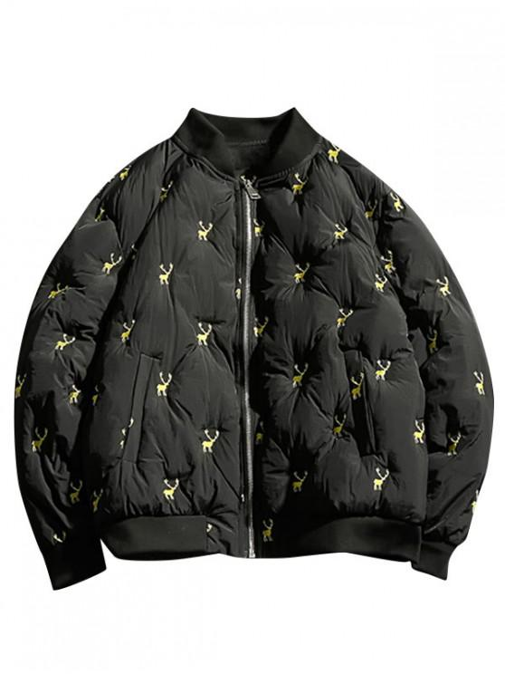 29040b0b77 Reindeers Embroidery Quilted Bomber Jacket
