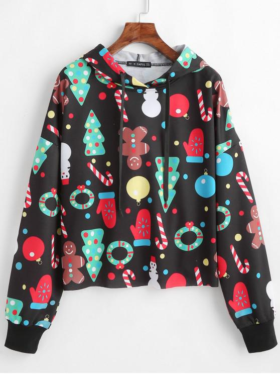 fancy ZAFUL Printed Oversized Christmas Hoodie - BLACK L