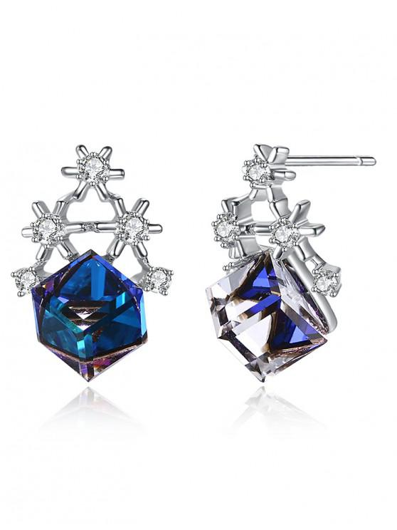 outfits Rhinestone Snowflake Block Stud Earrings - NAVY BLUE