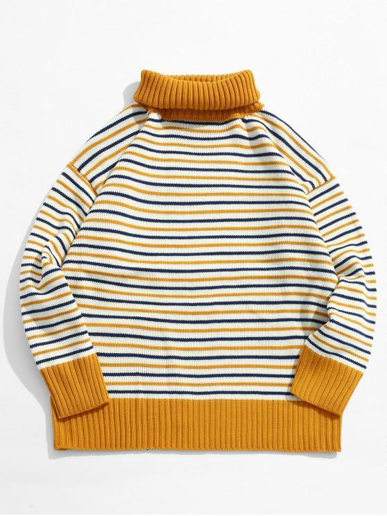 Maglione Pullover A Righe Con Collo Alto - Giallo L