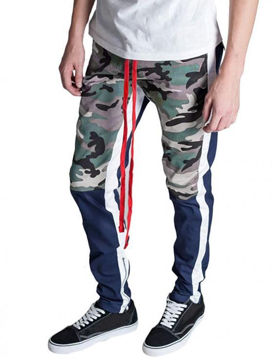 Hem Zipper Camo Patchwork Track Pants - سلحفاة البحر الخضراء M