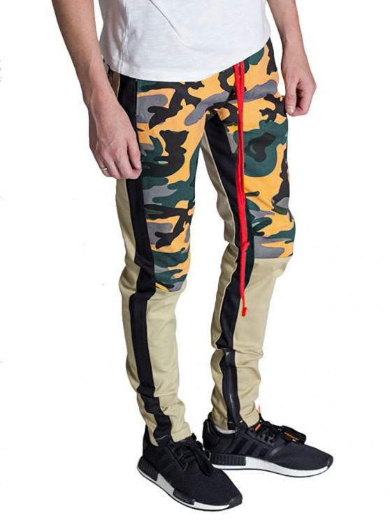 outfits Hem Zipper Camo Patchwork Track Pants - BRIGHT YELLOW L