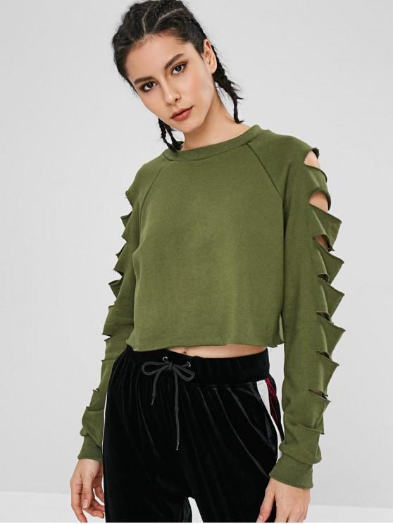 fancy Cut Out Raglan Sleeve Crop Sweatshirt - ARMY GREEN M