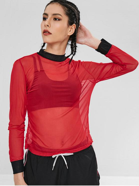 lady Mesh Sheer Color Block T-shirt - RED L