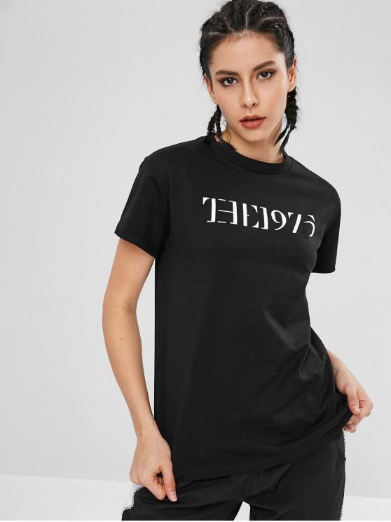 buy Letter Short Sleeve Sport Tee - BLACK L